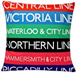 "London Underground Digital Print Colourful contemporaneo design Cotone di Chenille 16 ""X 16"" cuscino cuscino per divano letto"