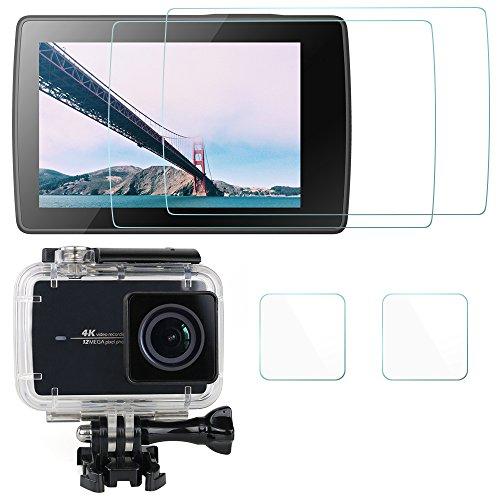 Proteggi Schermo per Xiaomi Yi II 4k Action Camera (Per lo schermo e il Caso Protettivo), AFUNTA 2 Pack (4 pezzi) Antigraffio Impermeabile Vetro Temperato per Xiaomi Yi 2 4k Film Accessori