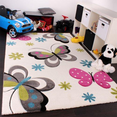 Paco Home Tappeto Bambina per Stanza Bambini con Farfalla E Fiori Crema Rosa Grigio Verde,...