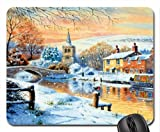 English Canal Boat Winter Mouse Pad, Mousepad (Winter Mouse Pad)