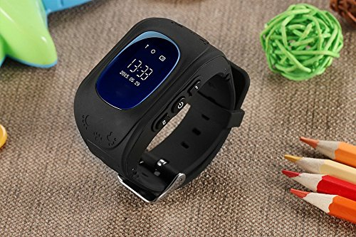 SeTracker Smartwatch with GPS Tracker Micro Sim Card Support Android/iOS Smart Phone Control SOS Call, 2-Way Calling for Kids (Black)