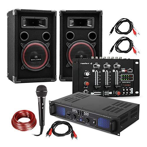 electronic star Set DJ e PA DJ-14 USB - Amplificatore PA, Console di Mixaggio USB, Coppia di Altoparlanti, Microfono Karaoke, Set di Cavi di Connessione