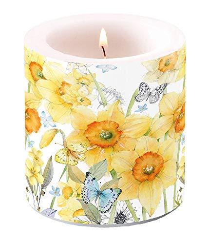 Miss Lovely - Vela de Pascua, diseño de Copos de Pascua, Color Amarillo con Mariposas, decoración de Pascua