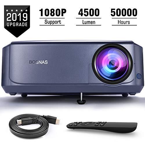 """Beamer 4500 Lumen Multimedia Full HD Video-Beamer unterstützt 1080P Full HD LED 50000 Stunden mit max 200\"""" Display, Verbindung mit HDMI VGA SD USB AV Gerät, Heimkino Projektor"""