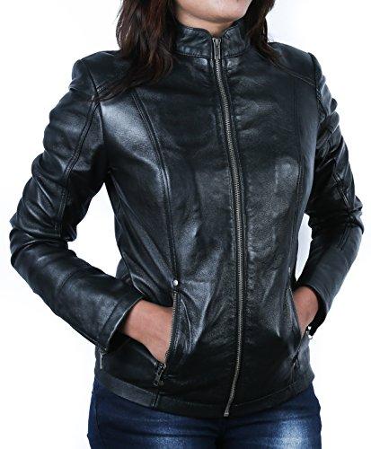 Urban Leather UR- 245 Rt01 Giacca in Pelle da Donna alla Moda, Nero, Taglia M