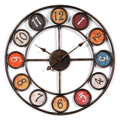 Jo332Bertram 60cm Orologi da Parete, Stile Vintage Orologio da Muro Silenzioso in Metallo per...
