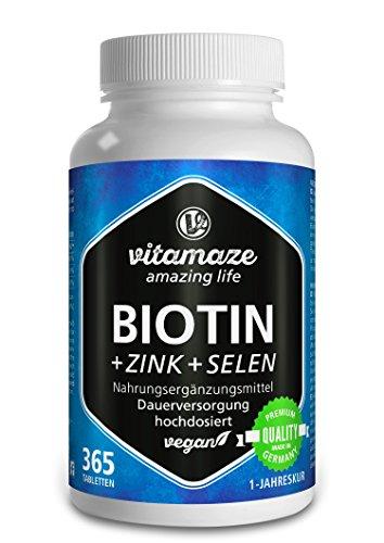 Biotin hochdosiert + Selen + Zink für Haarwuchs, Haut & Nägel - Der VERGLEICHSSIEGER 2018* - 365 vegane Tabletten für 1 Jahr, Biotin hochdosiert 10.000 mcg, Made-in-Germany