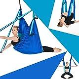 Sinbide Hamaca de Yoga, 250 * 150cm, Columpio Trapecio Set, 6 manivelas Columpio para Yoga para Yoga Aéreo, Carga de 600 kg, Seguro, Verde, Azul, Azul Oscuro (Azul Oscuro)