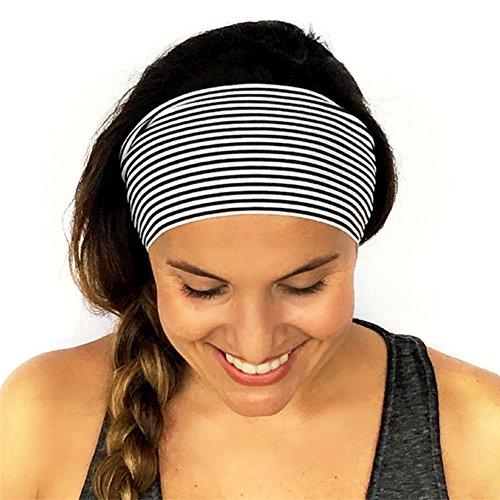 Rrimin Women's Spandex Polyester Yoga Sports Headband (134559, Black and White, Free Size)