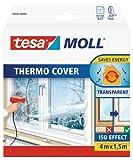 Tesa 05432 Pellicola Isolante per Vetri Singoli o Doppi per Risparmiare Energia, Trasparente, 4 x 1.5 m
