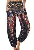 Pantalones de Yoga Sueltos Mujer Harem Boho del Lazo del Pavo Real Flaral Funky #2 Flor Impresa-B