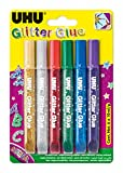 Uhu D1549 Glitter Glue Uhu, Original, Assortiti, 10 ml, Confezione da 6