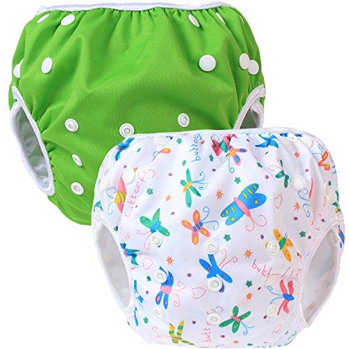Teamoy Swim pañales para bebés (2 Pack) pañal de tela cubierta Calzones de entrenamiento para los muchachos y las muchachas, Verde y mariposas blancas