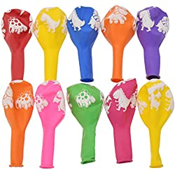Kesheng 12 Pulgadas Globos de Látex Estampados de Dinosaurio para Decoración de Fiesta de Cumpleaños 10pcs Colores Surtidos y Aleatorios