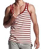 I VVEEL Homme Débardeur à Rayures T-Shirt sans Manche Tank Top Rouge L