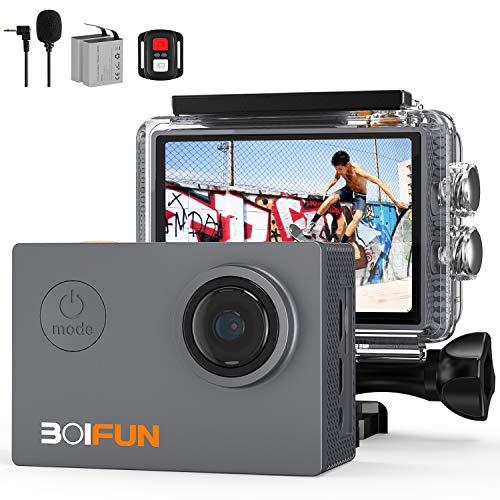 BOIFUN Action Cam 4K HD 20MP WiFi EIS Stabilizzazione con Telecomando e Microfono Esterno 40M Impermeabile Fotocamera Subacquea Videocamera Time Lapse Slow Motion con 2X1200 mAh Batterie (4k 20mp)