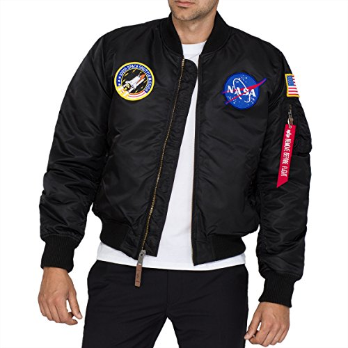 Alpha Industries MA- MA-1 VF NASA Bomber, Nero (Black 03), L Uomo