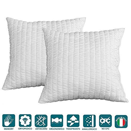 Evergreenweb - Coppia Cuscini 60x60 alti 12cm in Memory Foam da Letto o Arredo Divano Sofa...