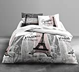 Juego de ropa de cama con funda nórdica de 240 x 260 cm y 2 fundas de almohada de 63 x 63 cm, 100% algodón. Estilo vintage París.