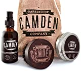 Camden Barbershop Company: Kit/coffret de soins et d'entretien de la barbe deluxe ● Comprenant brosse pour barbe, huile & baume pour barbe ● Produit 100% naturel