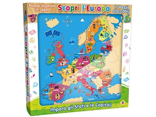 Teorema 40461 - Puzzle d'Europa in Legno, Multicolore