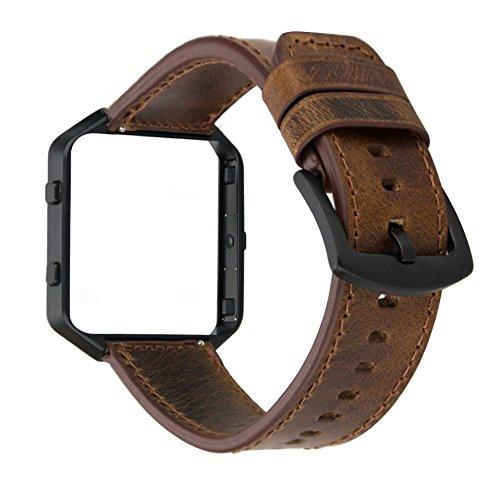 MroTech Compatibile per Fitbit Blaze Cinturino in Vera Pelle con Montatura in Metallo Bracciale Orologio Cinturino di Ricambio per Fit Bit Blaze Smart Fitness Watch (Banda Marrone, Cornice Nera)