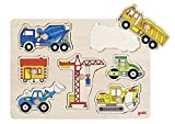 Goki-57593 Puzzles de maderaPuzzles de maderaGOKIEncaje, vehículos de construcción, Multicolor (57593)