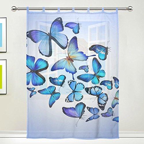 jstel diseño de mariposas diseño de flores de tul de gasa Puerta Ventana Habitación Cortina Drape 1Panel pura bufanda de girasoles amplio ancho gasa cortina para dormitorio 55x 78cm, solo Panel