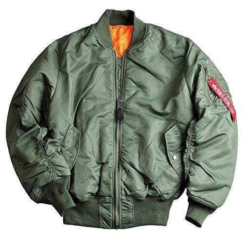Alpha Industries, giacca Bomber reversibile moderna, MA1, in nylon, originale, polsini elastici, tasche interne Verde salvia L