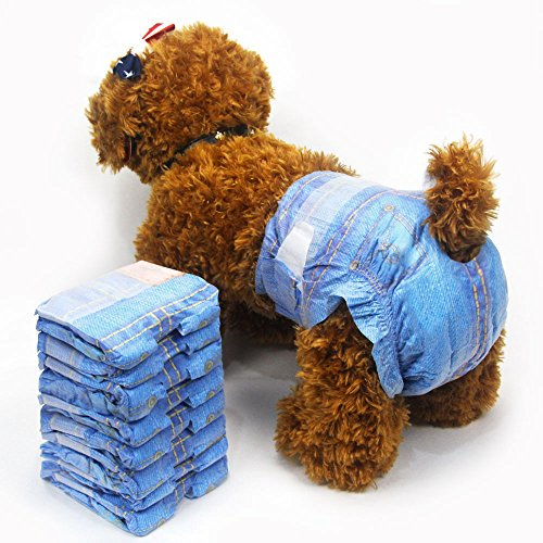 Pet Morbida Femmina Pannolini Super Assorbente Denim Jeans Pannolini USA e Getta Pet Cowboy Style Puppy Dog Pannolino 3Borse 24PCS