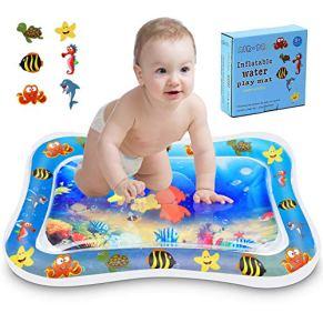 Kupton Colchoneta de agua inflable tiempo para jugar de barriguita para bebés y niños pequeños,centro de actividades de juego tiempo de diversión con animales flotantes del océanoparasudescubrimiento