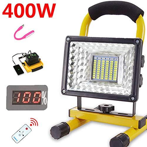 Faro Ricaricabile LED Da Cantiere Portatile (400W 8000 Lumen)con Telecomando, 6 Modalità...