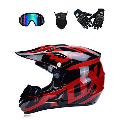 LTongx Moto Motocross caSchi e Guanti e Occhiali D. O. T Standard Bambini Quad Bike ATV Go Karting...
