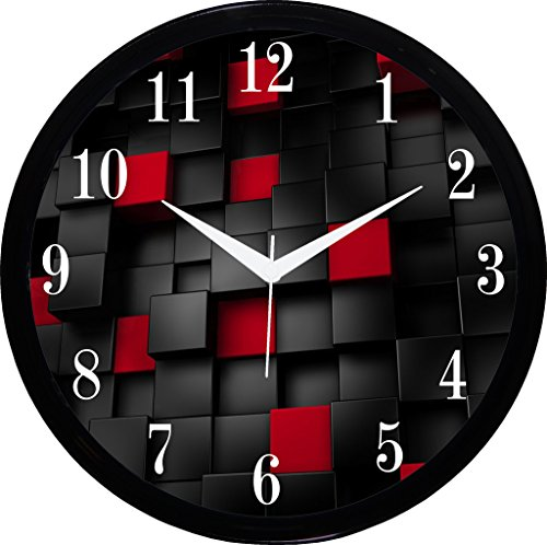 IT2M Round Wall Clock With Glass For Home / Bedroom / Living Room / Kitchen (Red)