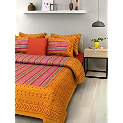 UniqChoice Bombay Spreads Cotton Jaipuri Double Bedsheet with 2 Pillow Covers (Multicolour)
