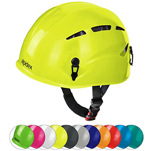 ALPIDEX Casco de Escalada Universal Argali Casco de ferrata en Modernos y Variados Colores, Color: Lime Green