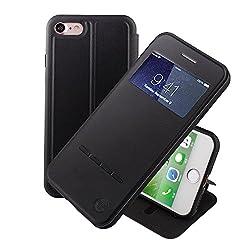 Kaufen Nouske iPhone 7 iPhone 8 4.7 Zoll hülle Etui Smart Touch S View Window Leder Wallet Klapphülle Flip Book Case TPU Cover Bumper Ultra Slim Rundumschutz, Schwarz