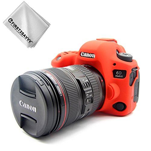 First2savvv rosso corpo pieno misura precisa TPU gomma custodia per fotocamera per Canon EOS 6D Mark II 6D MK II + Panno di pulizia XJPT-6D Mark II-GJ-08G11