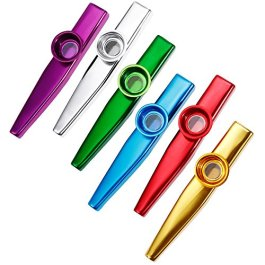Anpro 6 Pezzi Kazoo in metallo con sei membrane flauto membrana bocca Kazoo Musical Instruments by Oibtech