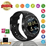 Bluetooth Smart Watch Touch Screen Smartwatch Phone Unlocked Watch Cell Phone With Sim Card Slot Smart Wrist Watch Pedometer Fitness Tracker For Android Phones Samsung Huawei IOS Iphone 6S 7 Plus Iphone 8 Men Women Kids (Y1-Black)