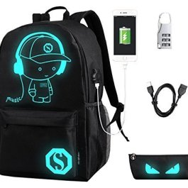 FLYMEI Global Anime Cartoon Luminous Zaino con Porta USB di Ricarica e Lock & Pencil Case, Moda Unisex Galaxy Zaino a Tracolla Zaino per la Scuola di Borsa da Viaggio College Bookbag