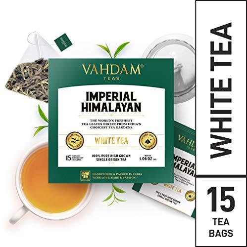 VAHDAM, Imperial Himalayan White Tea Bags |15 Pyramid Tea Bags | 100% Natural White Tea | Brew Hot or Iced