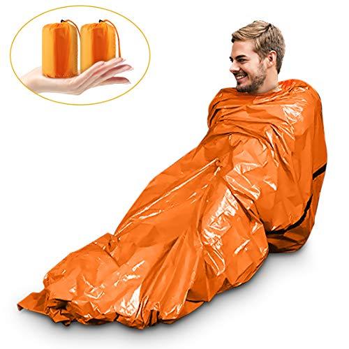 Magicfun Notfall Biwak-Sack - Survival Schlafsack - Kälteschutz -Thermo-Isolierung Leuchtend Orange Außenseite, Reflektierende Innenseite-2 Stück