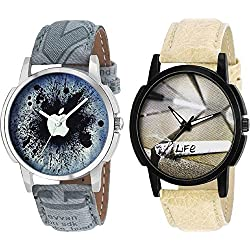 Sajavat Enterprise New Stylish Leather Belt Designer Dial Men & Women Watch - For Boys pack of 2