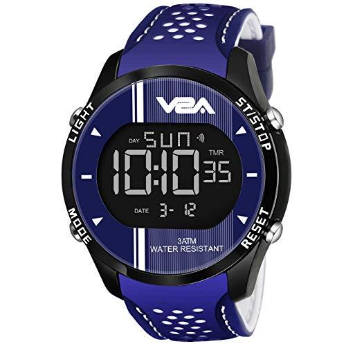 V2A Blue Led Digital Display Sports Silicone Strap Alarm Calendar Waterproof Sports Watch for Men