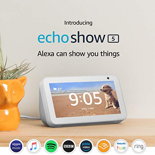 Introducing Echo Show 5 - Compact smart display with Alexa, White 3  Introducing Echo Show 5 – Compact smart display with Alexa, White 51mzC7Mu 7L