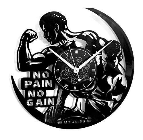 Instant Karma Clocks Orologio da Parete in Vinile Vintage Handmade Pain No Gain Allenamento Gym Fitness Palestra, Silenzioso