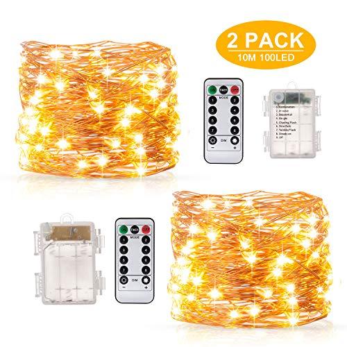 Stringa Luci Led, BAKTH 2 x 10M 100LED Catene Luminose Luci LED Impermeabile IP67 per interni/esterni/Natale/Matrimonio e camera da letto,Bianco Caldo 8 Modalità