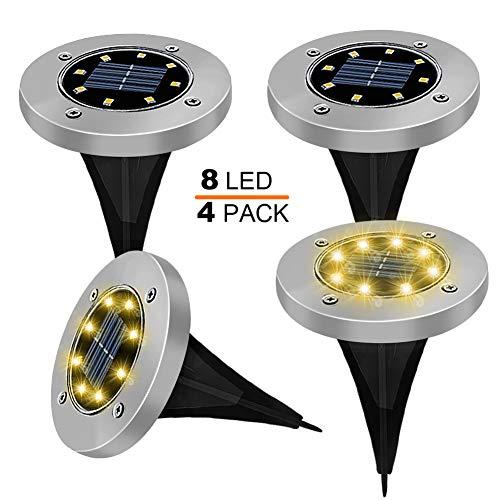 4 Pezzi Lampade da Giardino Solari 8LED Luce 100LM, KDORRKU 600mAh Batteria Integrata Luci solari...