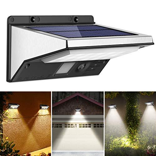 OUSFOT Solarlampen für Außen mit Bewegungsmelder Solarleuchte 2200mAh 3 Modi Wasserdichte Edelstahl Verpackung MEHRWEG